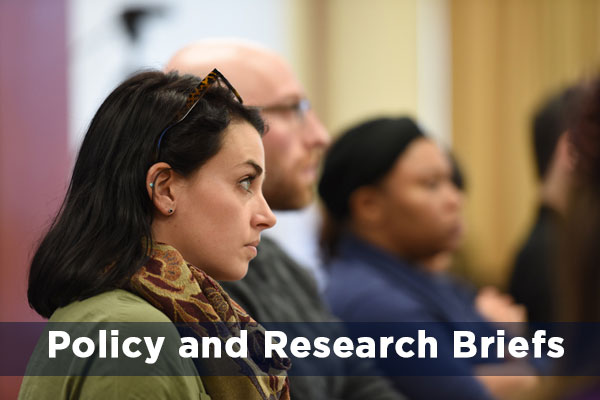Attendees of a CEPA talk. Text reads: Policy and Research Briefs.