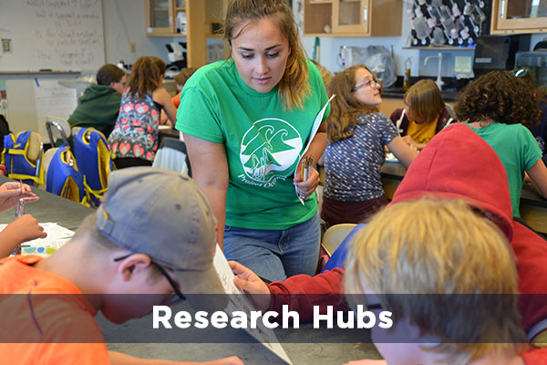 Student teacher in science classroom. Text reads: Research Hubs